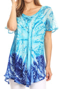 Sakkas Mira Tie Dye Two Tone Sheer Cap Sleeve Relaxed Fit Embellished Tunic Top#color_3-Turq