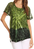 Sakkas Mira Tie Dye Two Tone Sheer Cap Sleeve Relaxed Fit Embellished Tunic Top#color_4-Green