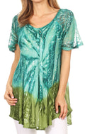 Sakkas Mira Tie Dye Two Tone Sheer Cap Sleeve Relaxed Fit Embellished Tunic Top#color_6-Aqua