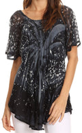 Sakkas Mira Tie Dye Two Tone Sheer Cap Sleeve Relaxed Fit Embellished Tunic Top#color_8-Grey