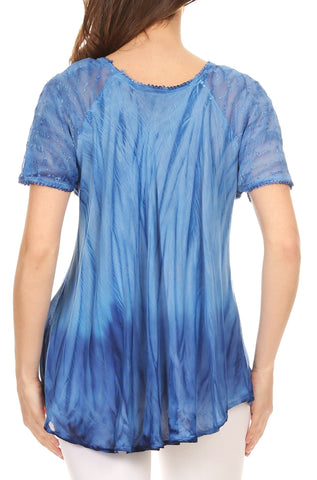 Sakkas Siri Ombre Tie Dye Embroidered Sheer Cap Sleeve Relaxed Fit Tunic Top