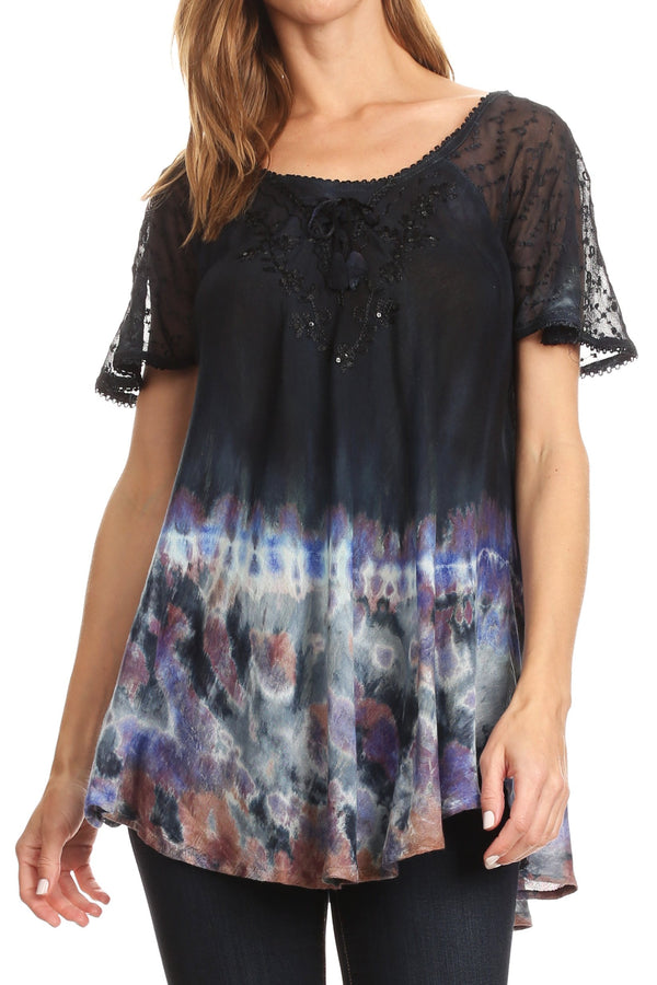 Sakkas Clarice Petite Raglan Lace Up Tie Dye Blouse with Embroidery and Sequins#color_Black