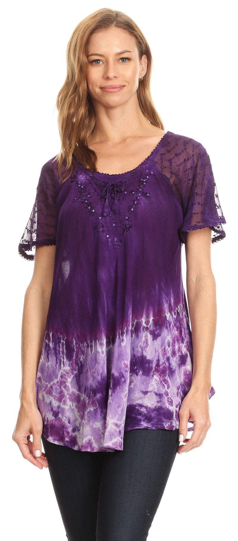 Sakkas Clarice Petite Raglan Lace Up Tie Dye Blouse with Embroidery and Sequins