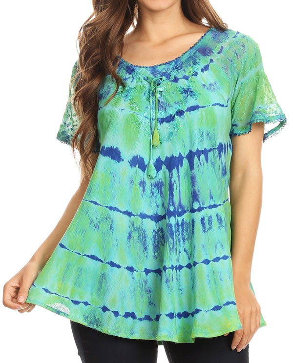 Sakkas Isayan Multi Color Embellished Tie Dye Sheer Cap Sleeve Tunic Top#color_1-Blue / Turq