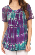 Sakkas Isayan Multi Color Embellished Tie Dye Sheer Cap Sleeve Tunic Top#color_2-Purple / Teal
