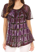 Sakkas Isayan Multi Color Embellished Tie Dye Sheer Cap Sleeve Tunic Top#color_4-Burgundy / Purple