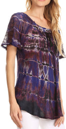 Sakkas Isayan Multi Color Embellished Tie Dye Sheer Cap Sleeve Tunic Top