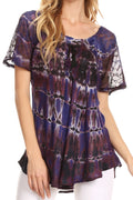 Sakkas Isayan Multi Color Embellished Tie Dye Sheer Cap Sleeve Tunic Top#color_7-Indigo
