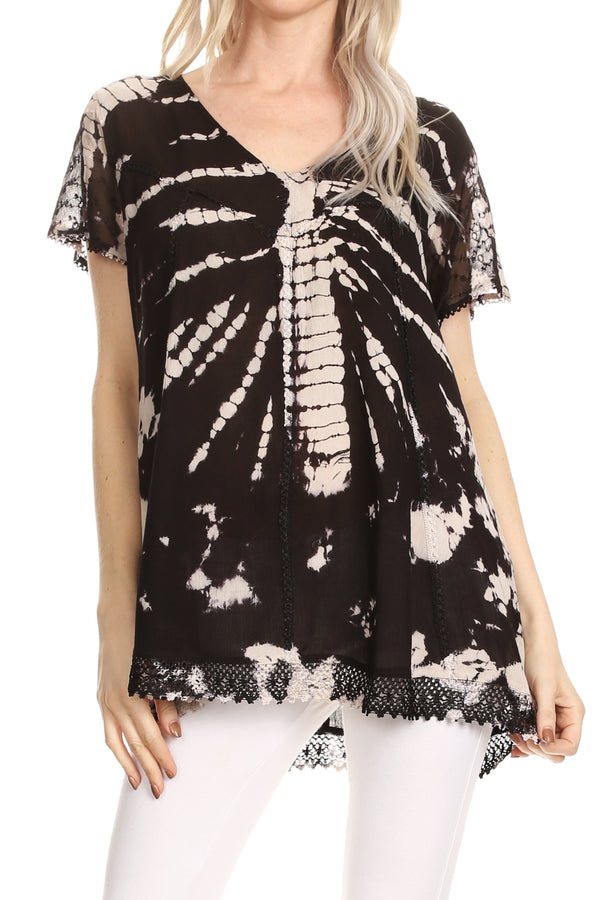 Sakkas Josea Relaxed Fit Tie Dye Embroidered Crepe Cap Sleeve Blouse | Cover Up#color_Black