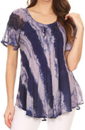 Sakkas Valencia Tie Dye Sheer Cap Sleeve Embellished Drawstring Scoop Neck Top#color_1-Indigo