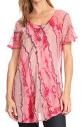 Sakkas Valencia Tie Dye Sheer Cap Sleeve Embellished Drawstring Scoop Neck Top#color_5-Pink