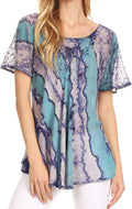 Sakkas Valencia Tie Dye Sheer Cap Sleeve Embellished Drawstring Scoop Neck Top#color_6-Turq / Purple