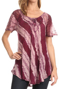 Sakkas Valencia Tie Dye Sheer Cap Sleeve Embellished Drawstring Scoop Neck Top#color_7-Wine