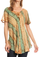 Sakkas Valencia Tie Dye Sheer Cap Sleeve Embellished Drawstring Scoop Neck Top