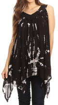 Sakkas Nalu Sleeveless Relaxed Fit Multi Color Tie Dye V-Neck Blouse | Cover Up#color_Black