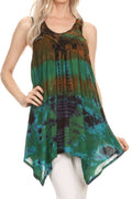 Sakkas Nalu Sleeveless Relaxed Fit Multi Color Tie Dye V-Neck Blouse | Cover Up#color_Brown