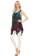 Sakkas Nalu Sleeveless Relaxed Fit Multi Color Tie Dye V-Neck Blouse | Cover Up