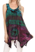 Sakkas Nalu Sleeveless Relaxed Fit Multi Color Tie Dye V-Neck Blouse | Cover Up#color_Green