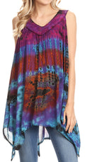 Sakkas Nalu Sleeveless Relaxed Fit Multi Color Tie Dye V-Neck Blouse | Cover Up#color_Purple / Turquoise