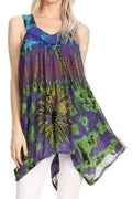 Sakkas Nalu Sleeveless Relaxed Fit Multi Color Tie Dye V-Neck Blouse | Cover Up#color_Purple / Yellow