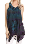 Sakkas Nalu Sleeveless Relaxed Fit Multi Color Tie Dye V-Neck Blouse | Cover Up#color_Teal