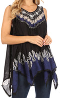 Sakkas Gaia V-neck Sleeveless Tank Top with Embroidery and Handkerchief Hem#color_Black Blue