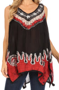 Sakkas Gaia V-neck Sleeveless Tank Top with Embroidery and Handkerchief Hem#color_Black / Red