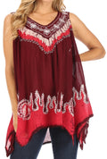Sakkas Gaia V-neck Sleeveless Tank Top with Embroidery and Handkerchief Hem#color_Burgundy / Pink