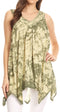 Sakkas Asaaya Sleeveless Tie Dye V-Neck Crinkle Style Trapeze Hem Lightweight Top#color_Army Green