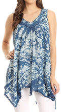 Sakkas Asaaya Sleeveless Tie Dye V-Neck Crinkle Style Trapeze Hem Lightweight Top#color_Blue