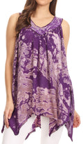 Sakkas Asaaya Sleeveless Tie Dye V-Neck Crinkle Style Trapeze Hem Lightweight Top#color_Purple