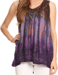 Sakkas Freya Dip Dyed Tie Dye Tank with Sequins and Embroidery#color_Brown