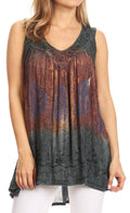Sakkas Freya Dip Dyed Tie Dye Tank with Sequins and Embroidery#color_Grey