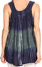 Sakkas Freya Dip Dyed Tie Dye Tank with Sequins and Embroidery#color_Navy
