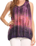 Sakkas Freya Dip Dyed Tie Dye Tank with Sequins and Embroidery#color_Pink