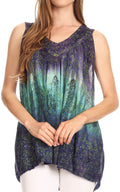 Sakkas Freya Dip Dyed Tie Dye Tank with Sequins and Embroidery#color_Purple
