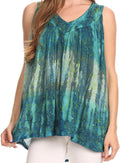 Sakkas Freya Dip Dyed Tie Dye Tank with Sequins and Embroidery#color_Teal