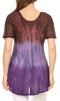Sakkas Nayen Tie-Dye Sheer Cap Sleeve Embellished Relaxed Fit Drawstring Tunic Top#color_Brown