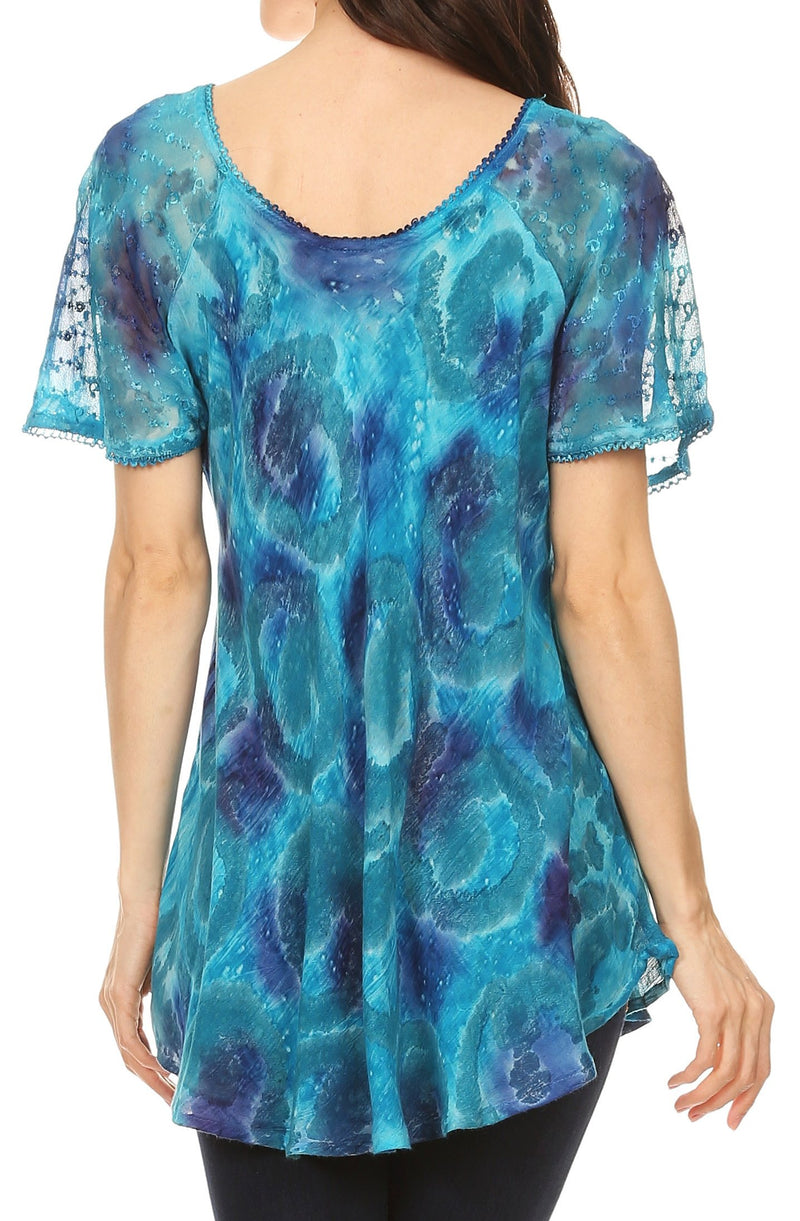 Sakkas Lena Tie-dye Short Sleeve Blouse Top with Crochet Lace and Embroidery