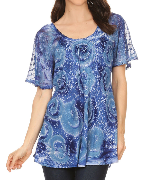 Sakkas Lena Tie-dye Short Sleeve Blouse Top with Crochet Lace and Embroidery#color_Blue