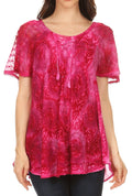 Sakkas Lena Tie-dye Short Sleeve Blouse Top with Crochet Lace and Embroidery#color_Fuchsia