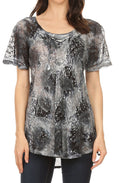 Sakkas Lena Tie-dye Short Sleeve Blouse Top with Crochet Lace and Embroidery#color_Gray