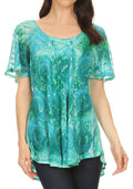 Sakkas Lena Tie-dye Short Sleeve Blouse Top with Crochet Lace and Embroidery#color_Green