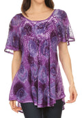 Sakkas Lena Tie-dye Short Sleeve Blouse Top with Crochet Lace and Embroidery#color_Purple