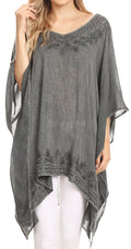 Sakkas Regina Women's Lightweight Stonewashed Poncho Top Blouse Caftan Cover up#color_Gray