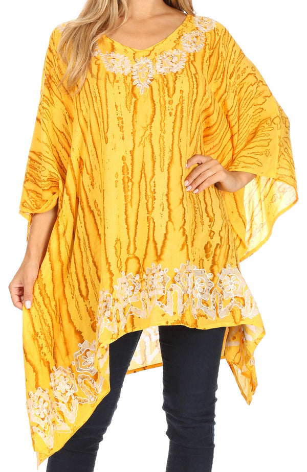 Sakkas Alizia Lightweight Embroidery Batik Top Tunic Blouse Caftan Cover up Poncho#color_Beige