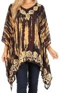 Sakkas Alizia Lightweight Embroidery Batik Top Tunic Blouse Caftan Cover up Poncho#color_Black / Cream