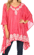 Sakkas Alizia Lightweight Embroidery Batik Top Tunic Blouse Caftan Cover up Poncho#color_Blush