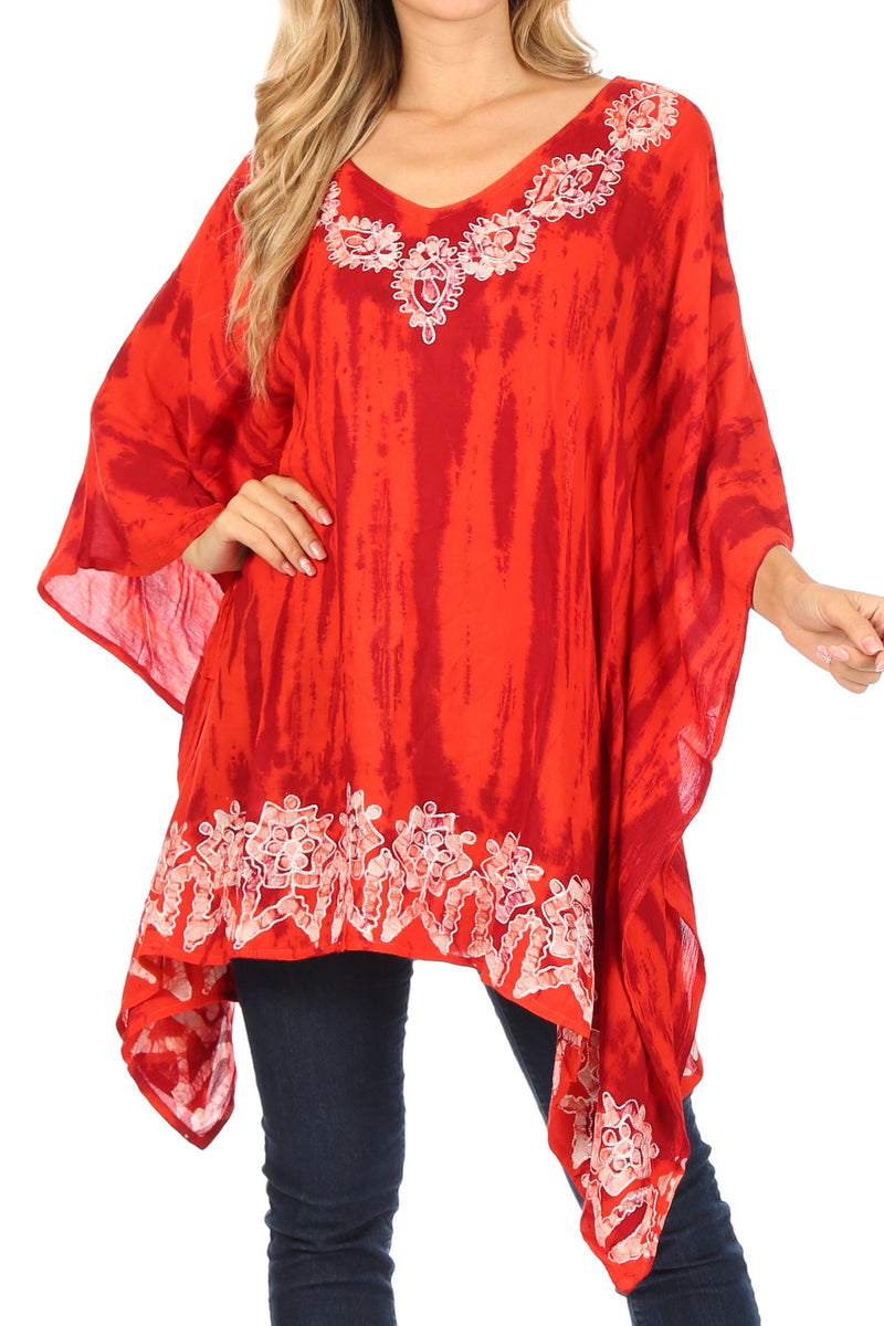 Sakkas Alizia Lightweight Embroidery Batik Top Tunic Blouse Caftan Cover up Poncho