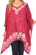 Sakkas Alizia Lightweight Embroidery Batik Top Tunic Blouse Caftan Cover up Poncho#color_Fuchsia-navy